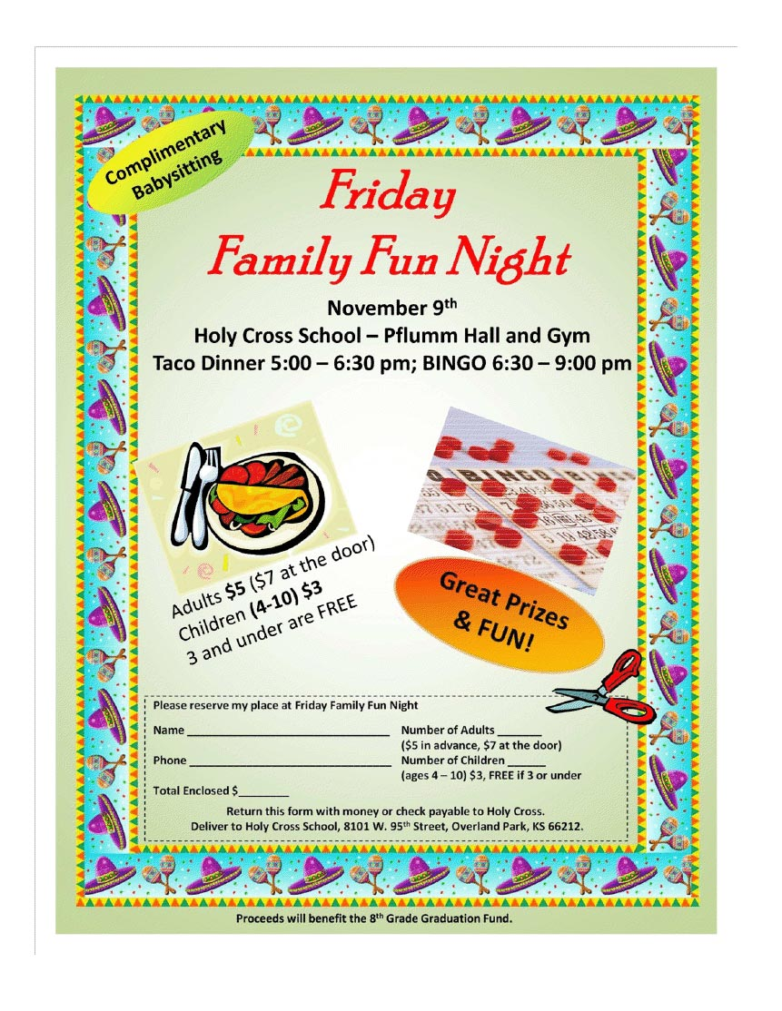 friday family fun night holy cross catholic school blog click here for a dinner reservation form