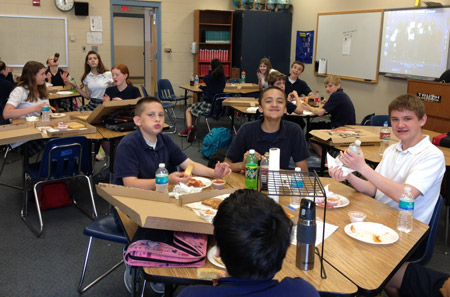 Mr. Wagner's 7th graders enjoyed pizza, cookies & drinks today for lunch as winners of the Big Finale Contest for collecting the most Box Tops, Labels for Education and Best Choice UPCs.